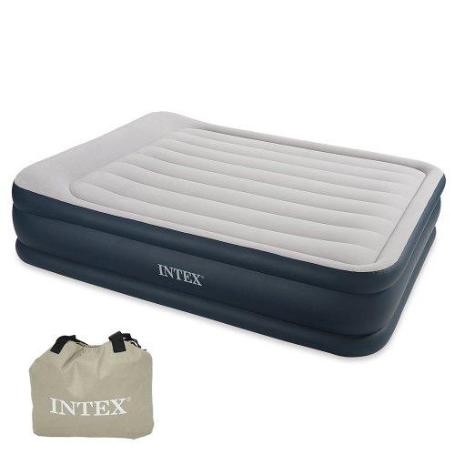 "Luftbett Deluxe Pillow grey-blue ""Queen"", 230V inkl. eingebauter Luftpumpe,152 x 203 x 48 cm (L x B x H)"