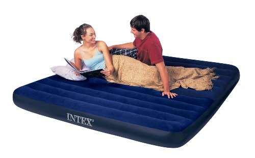 "Intex Luftbett Classic Downy Blue ""King"", 2-in-1 Ventil, 183 x 203 x 22 cm (L x B x H), 68755"